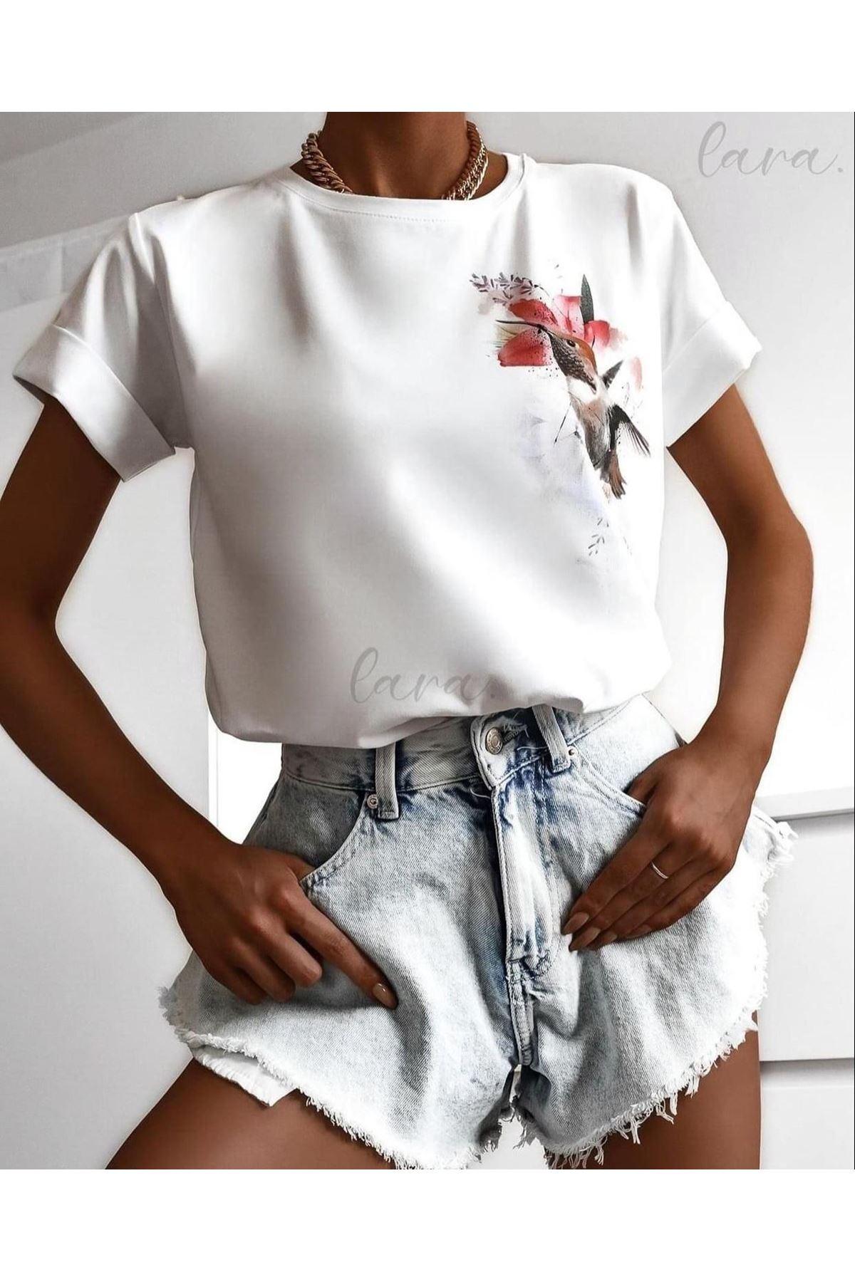 Kuş Baskılı Atlas Tshirt - BEYAZ