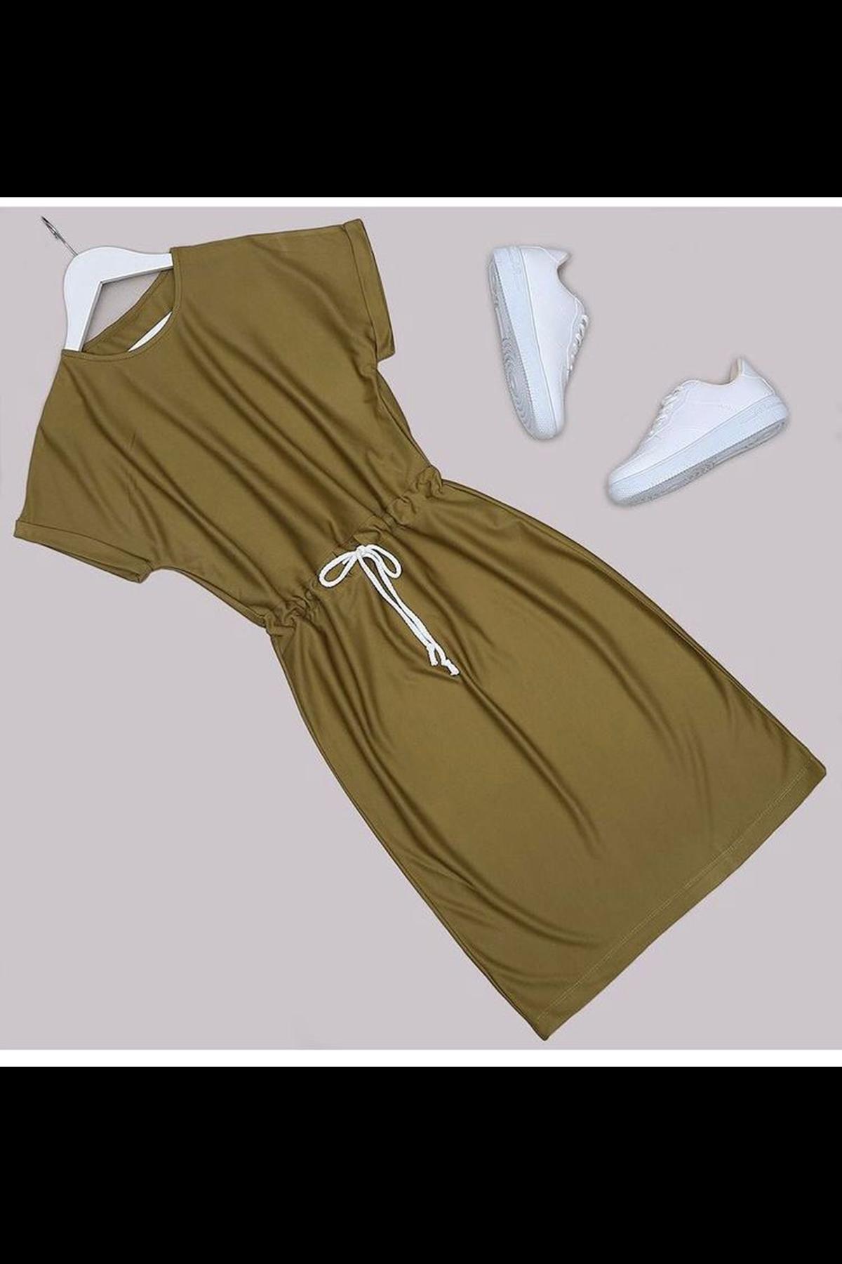 Kısa Kol Bel Lastikli Elbise - HAKİ