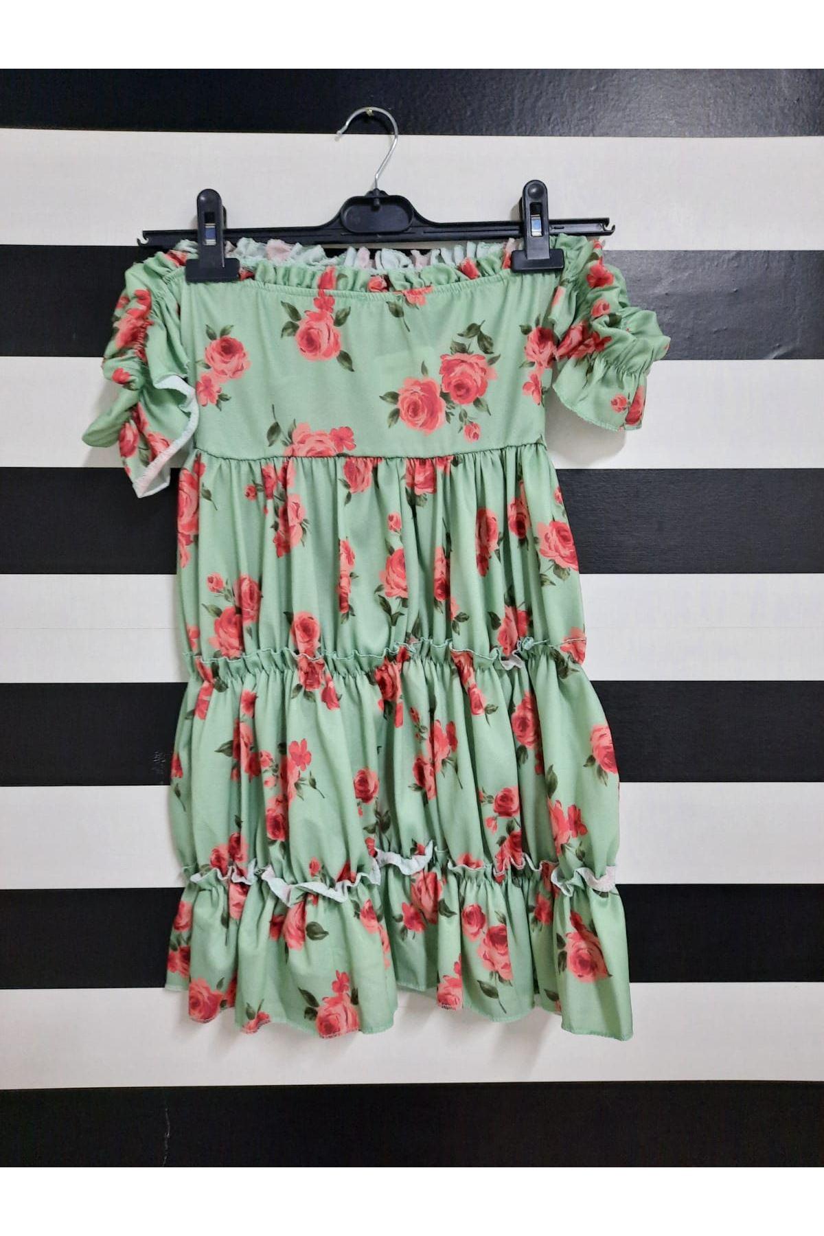 Çiçek Desen Büzgü Detaylı Crep Elbise - YEŞİL
