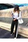 Yanı şeritli trıko pantolon K49 SİYAH