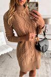 Örgü desen trıko elbise K93 VİZON
