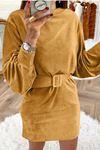İthal Kadife Kemerli Elbise M17 HARDAL