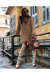 Yaka dantel trıko elbise K25 AÇIK KAHVE