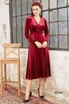 İthal Kadife Piliseli Midi Elbise 501 BORDO